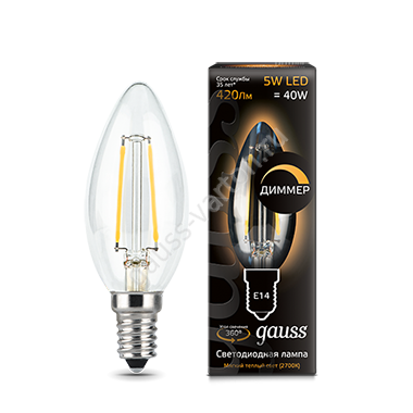 Лампа Gauss LED Filament Candle dimmable E14 5W 2700К