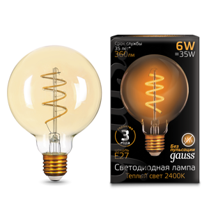 Лампа Gauss LED Filament G95 Flexible E27 6W Golden 2400К