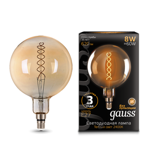 Лампа Gauss LED Vintage Filament Flexible G200 8W E27 200*300mm Golden 620lm 2400K