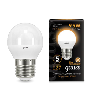 Лампа Gauss LED Globe E27 9.5W 3000K