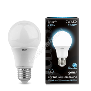 Лампа Gauss LED A60 E27 7W 4100K