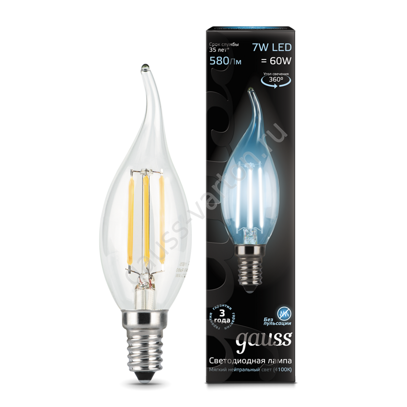 Лампа Gauss LED Filament Candle tailed E14 7W 4100К