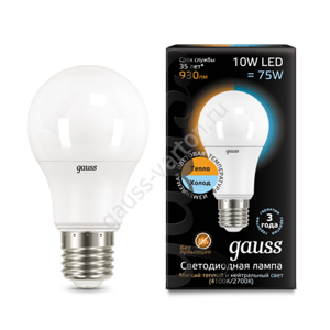 Лампа Gauss LED A60 10W E27 2700K/4100K CTC