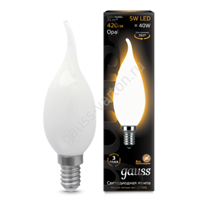 Лампа Gauss LED Filament Candle Tailed OPAL E14 5W 2700К