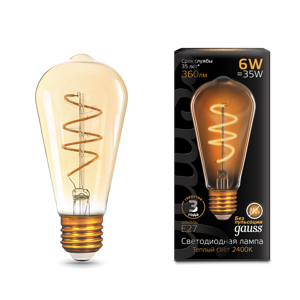 Лампа Gauss LED Filament ST64 Flexible E27 6W Golden 2400К