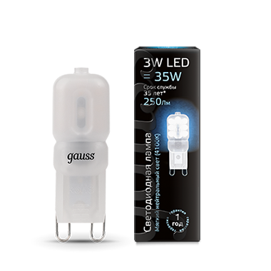 Лампа Gauss LED G9 AC220-240V 3W 4100K пластик