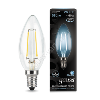 Лампа Gauss LED Filament Candle E14 7W 4100К