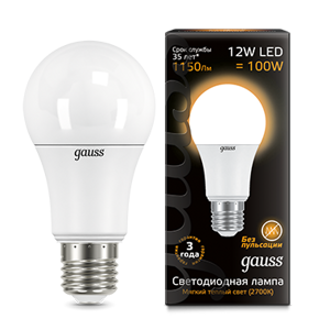 Лампа Gauss LED A60 12W E27 3000K