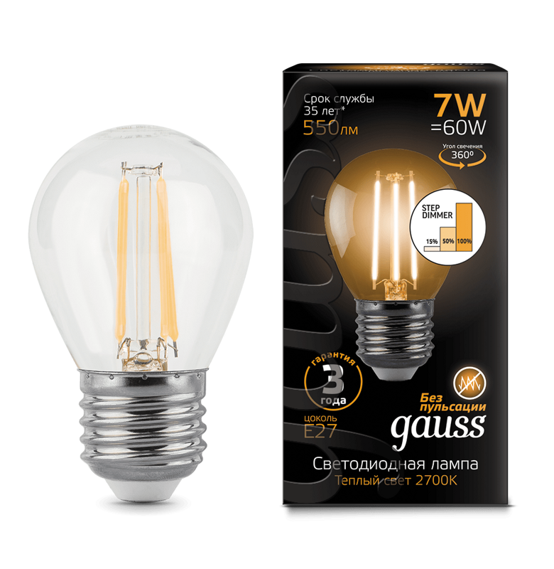 Лампа Gauss LED Filament Шар E27 7W 550lm 2700K step dimmable