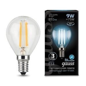Лампа Gauss LED Filament Globe E14 9W 4100K