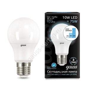 Лампа Gauss LED A60 10W E27 4100K step dimmable