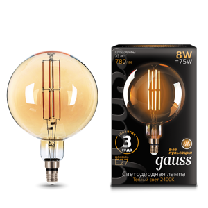 Лампа Gauss LED Vintage Filament G200 8W E27 200*300mm Golden 780lm 2400K