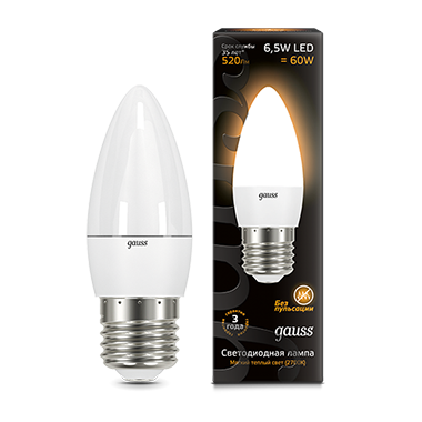 Лампа Gauss LED Candle E27 6.5W 2700К