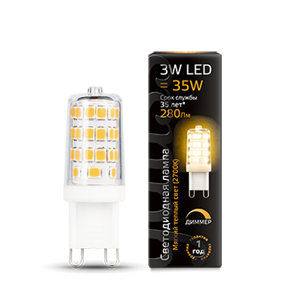 Лампа Gauss LED G9 AC185-265V 3W 2700K dimmable