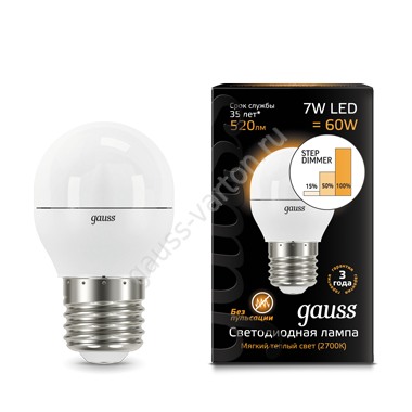 Лампа Gauss LED Шар E27 7W 520lm 3000K step dimmable