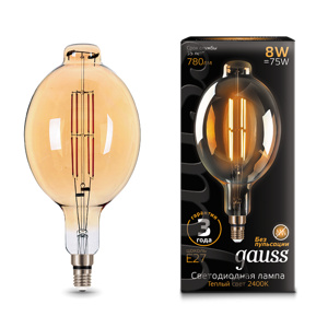 Лампа Gauss LED Vintage Filament BT180 8W E27 180*360mm Golden 780lm 2400K