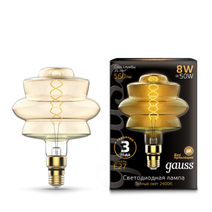 Лампа Gauss Led Vintage Filament Flexible BD180 8W 560lm E27 180*250mm Golden 2400K