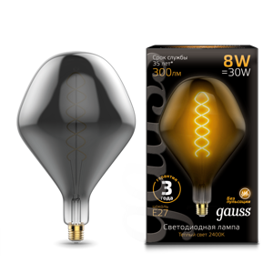 Лампа Gauss Led Vintage Filament Flexible SD160 8W E27 160*270mm Gray 2400K