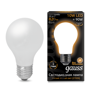 Лампа Gauss LED Filament A60 OPAL E27 10W 2700К