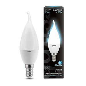 Лампа Gauss LED Candle Tailed 6,5W E14 4100K