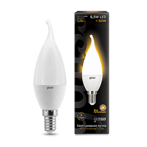 Лампа Gauss LED Candle Tailed 6,5W E14 2700K