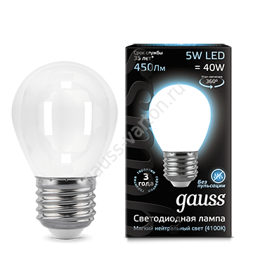 Лампа Gauss LED Filament Globe OPAL E27 5W 4100K