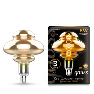 Лампа Gauss Led Vintage Filament Flexible BD160 8W 330lm E27 160*210mm Gray 2400K