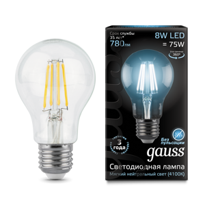 Лампа Gauss LED Filament A60 E27 8W 4100Кv