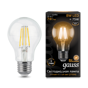 Лампа Gauss LED Filament A60 E27 8W 2700К