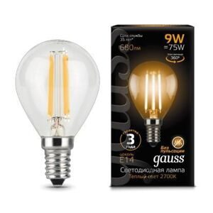 Лампа Gauss LED Filament Globe E14 9W 2700K