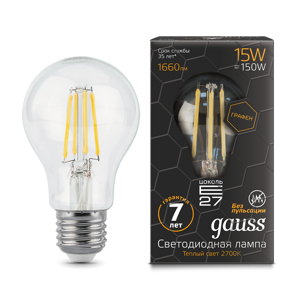 Лампа Gauss LED Filament Graphene A60 E27 15W 2700К