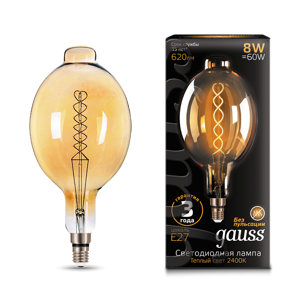 Лампа Gauss LED Vintage Filament Flexible  BT180 8W E27 180*360mm Golden 620lm 2400K