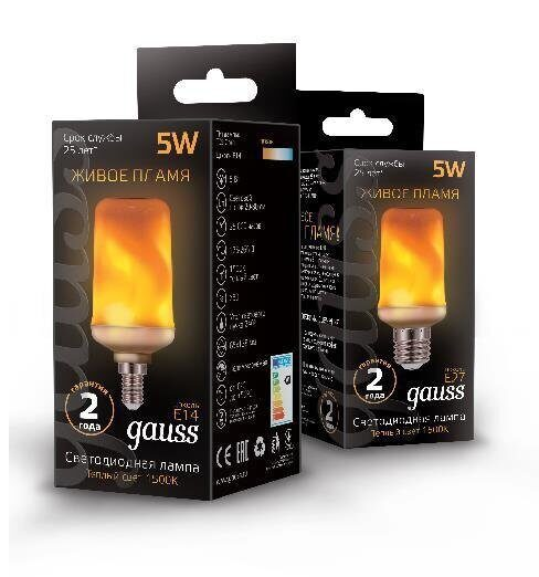 Лампа Gauss Led T65 Corn Flame 5W E14 1500K