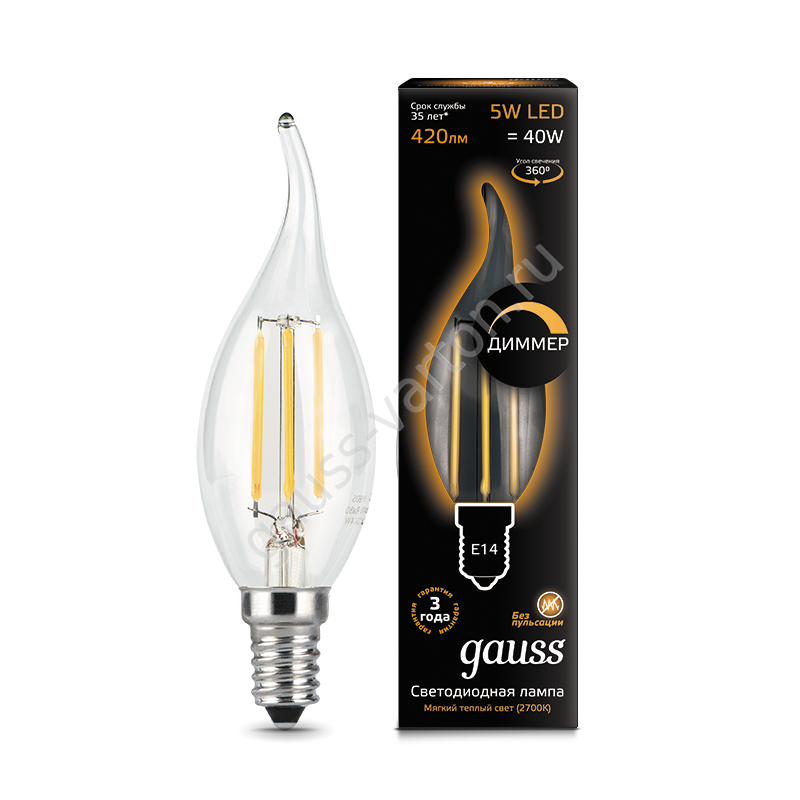 Лампа Gauss LED Filament Candle tailed dimmable E14 5W 2700K