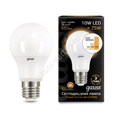 Лампа Gauss LED A60 10W E27 880lm 2700K step dimmable