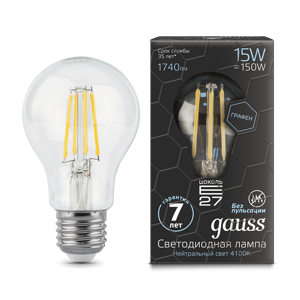 Лампа Gauss LED Filament Graphene A60 E27 15W 4100К
