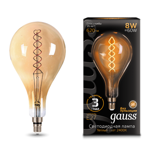 Лампа Gauss LED Vintage Filament Flexible A160 8W E27 160*300mm Golden 620lm 2400K