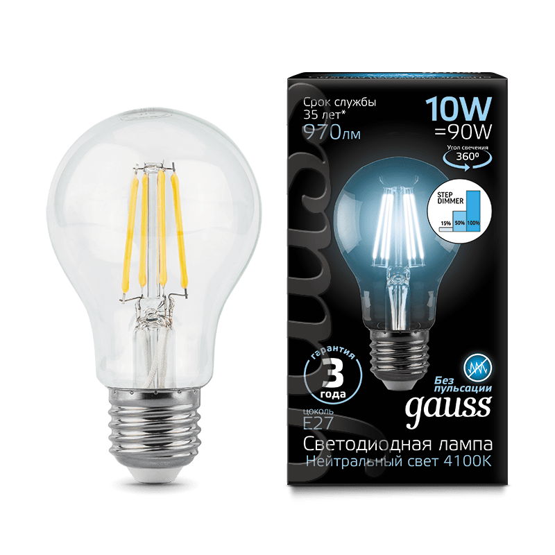 Лампа Gauss LED Filament A60 E27 10W 970lm 4100К step dimmable
