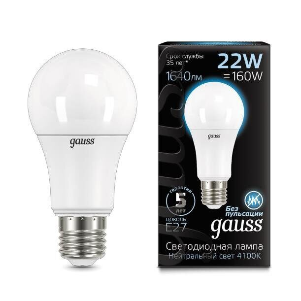 Лампа Gauss LED A70 22W E27 4100K