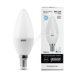 Лампа Gauss LED Elementary Candle 8W E14 6500K