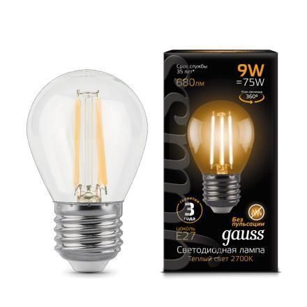 Лампа Gauss LED Filament Globe E27 9W 2700K