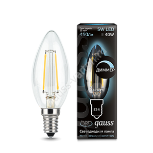 Лампа Gauss LED Filament Candle dimmable E14 5W 4100К