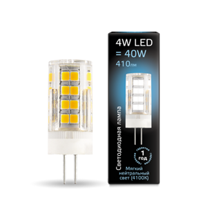 Лампа Gauss LED G4 AC185-265V 4W 4100K керамика