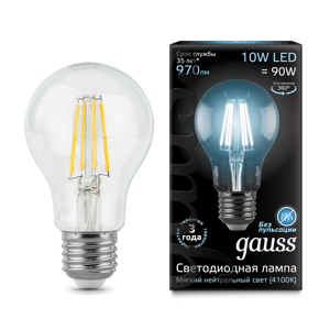 Лампа Gauss LED Filament A60 E27 10W 4100К