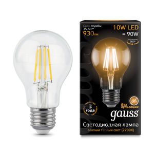 Лампа Gauss LED Filament A60 E27 10W 2700К