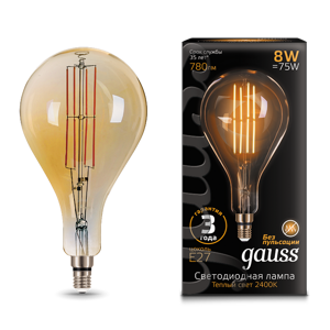 Лампа Gauss LED Vintage Filament A160 8W E27 160*300mm Golden 780lm 2400K